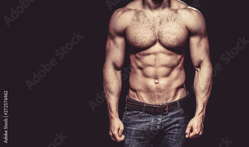 Beautiful male torso. Sexy man, naked body, nude male. Sexy body, nude man, naked male, muscled. Strong mans, bodybuilder, muscular men. Copy space - 272576462