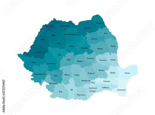 Photo  Vector isolated illustration of simplified administrative map of Romania