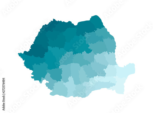 Obraz na plátně Vector isolated illustration of simplified administrative map of Romania