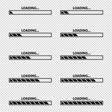Loading Bar Icon Set - Vector Illustrations - Isolated On Transparent Background