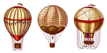 Hot Air Balloons. Vector Retro...