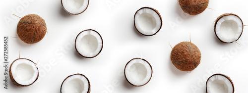 Fotografia, Obraz Coconut pattern on white background, top view