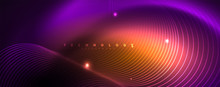 Shiny Neon Lights, Dark Abstract Background With Blurred Magic Neon Light Curved Lines