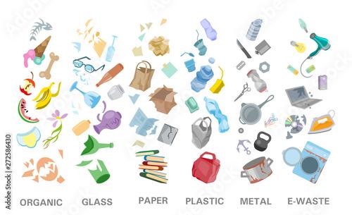 Photo  Waste sorting management concept separation garbage disposal refuse bin illustra