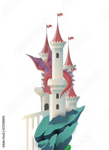 Book cover fairy tale illustration castle and dragon - 272588803