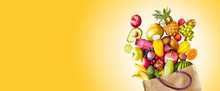 Colorful Yellow Panorama Banner Of Tropical Fruit