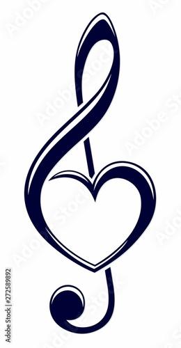 A symbol of a treble clef with heart. Fototapeta
