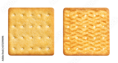 Fényképezés Two sides of a delicious square cracker, isolated on white background