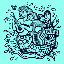 Cute Siren Mermaid Girl Playing Ukulele With Sea And Shining Sun Exotic Tropical Paradise Landscape Tattoo Style Monochrome Vector Illustration T-shirt Or Sticker Design