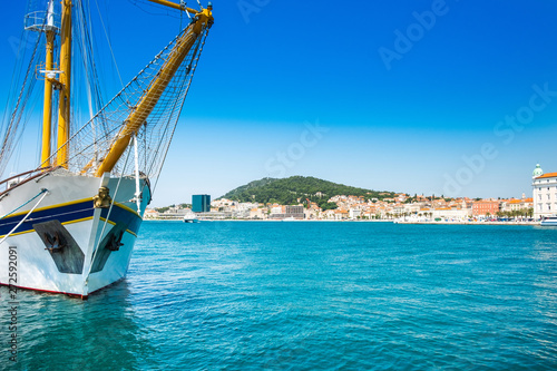 Split, Croatia, waterfront and ships in the harbour, Adriatic coast, seascape