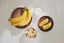 A Sliced Banana In A Bowl