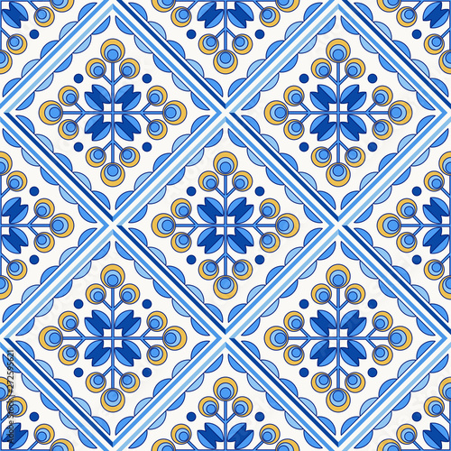 Traditional Portugal Lisbon azulejo ceramic tiles pattern. Canvas Print