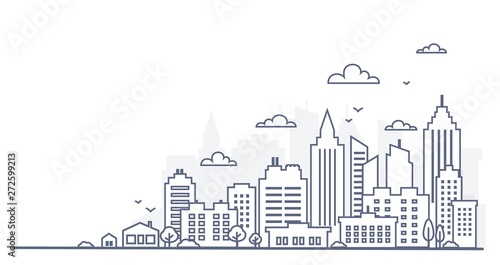 Türaufkleber Weiß City landscape template. Thin line City landscape. Downtown landscape with high skyscrapers. Panorama architecture Goverment buildings Isolated outline illustration. Urban life