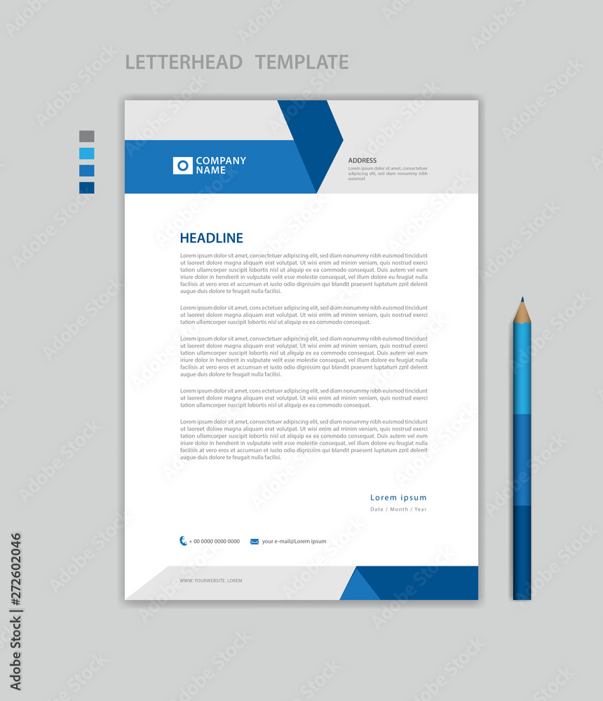 Fototapeta Letterhead template vector, minimalist style, printing design, business advertisement layout, Blue concept background