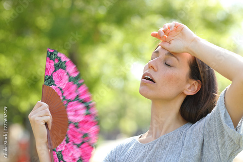 Canvas Prints Textures Woman suffering a heat stroke in a warm summer day