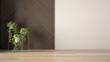 Empty Room With Wooden Panel And Potted Plant, Parquet Floor. White Wall Background With Copy Space. Interior Design Concept Idea, Modern Architecture Template