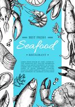 Vector Vintage Seafood Restaurant Flyer.