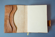 Leather Notebook On Grey Background