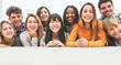 canvas print picture - Happy millennial friends from diverse cultures and races having fun posing in front of smartphone camera - Youth and friendship concept - Young multiracial people smiling - Main focus on center faces