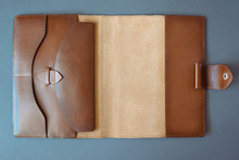 Leather Notebook On Grey Backg...