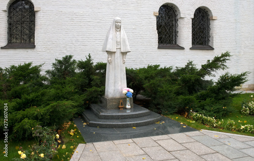 MOSCOW - OCTOBER 27, 2018: Marble statue of the founder of the Marfo-Mariinsky Convent of Mercy of Grand Duchess Elizabeth Romanova Wallpaper Mural