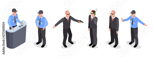 Cuadros en Lienzo Vector isometric set of guards, police officers, agents isolated on white background