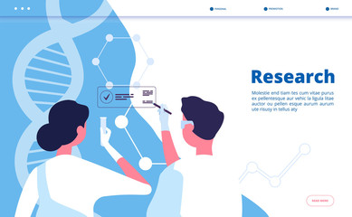 Research lab landing. Researchers scientists test dna in chemical laboratory. Pharmaceutical biochemistry vector concept. Illustration of research biochemistry, scientific biotechnology banner web