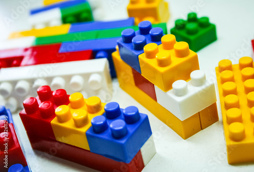 wooden building blocks isolated on white background Tableau sur Toile