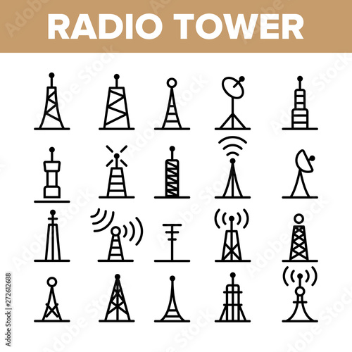 Radio Towers And Masts Vector Linear Icons Set Fototapeta