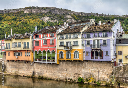 Historic colourful building facades in Lovech, Bulgaria. With Os