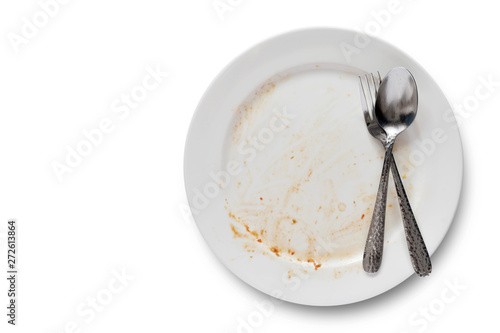 Top view of empty plate, dirty after the meal is finished isolate with clipping Fototapet