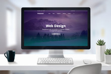 Web Design Studio Presentation On Computer Display Close-up. Work Desk In Office Concept.