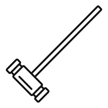 Croquet Wood Mallet Icon. Outl...