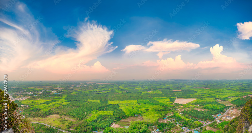 Fototapety, obrazy: Panorama view of southeast asia countryside landscape with green fields and villages at sunset