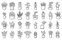 Houseplants Flower Icons Set. ...