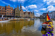 canvas print picture - View of Graslei, Korenlei quays and Leie river in the historic city center in Ghent (Gent), Belgium. Architecture and landmark of Ghent. Cityscape of Ghent.