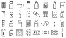 Antibiotic Drug Icons Set. Out...