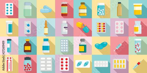 Antibiotic icons set Canvas Print