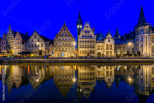 canvas print motiv - ekaterina_belova : View of Graslei quay and Leie river in the historic city center in Ghent (Gent), Belgium. Architecture and landmark of Ghent. Night cityscape of Ghent.