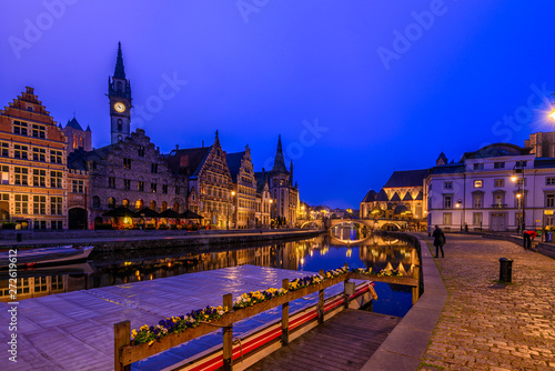 canvas print motiv - ekaterina_belova : View of Graslei, Korenlei quays and Leie river in the historic city center in Ghent (Gent), Belgium. Architecture and landmark of Ghent. Sunset cityscape of Ghent.