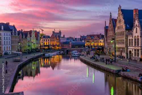 View of Graslei, Korenlei quays and Leie river in the historic city center in Ghent (Gent), Belgium. Architecture and landmark of Ghent. Sunset cityscape of Ghent. - 272619669
