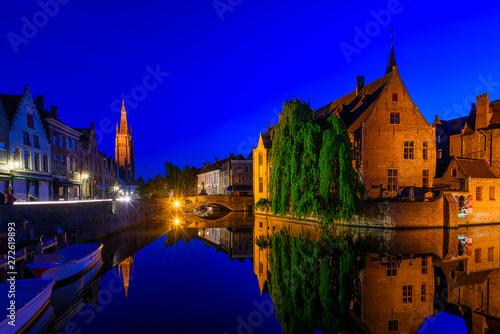canvas print motiv - ekaterina_belova : Classic view of the historic city center of Bruges (Brugge), West Flanders province, Belgium. Night cityscape of Bruges.