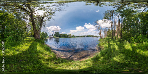 Aluminium Prints Forest river full seamless spherical hdri panorama 360 degrees angle view on precipice of wide river in deciduous forest in sunny summer day in equirectangular projection, ready for AR VR virtual reality content