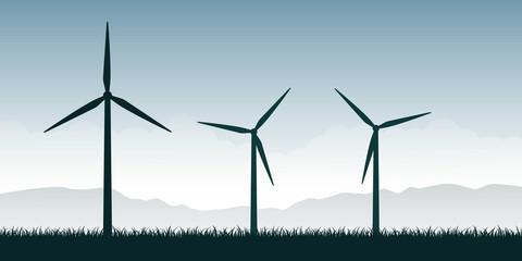 vjetrenjače silueta na zelenoj prirodi krajolik energija vjetra energija vektorska ilustracija EPS10