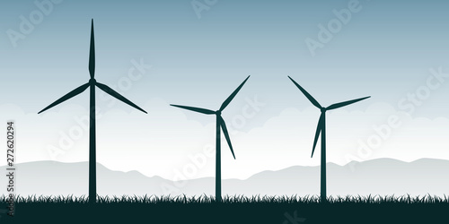 Obraz windmills silhouette on green nature landscape wind power energy vector illustration EPS10 - fototapety do salonu