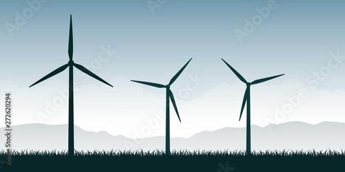 Fotografia windmills silhouette on green nature landscape wind power energy vector illustra