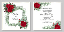 Christmas Card With Holly And Red Berries