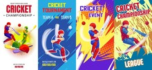 Cricket Banner Set. Cartoon Il...