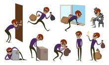 Burglar Icons Set. Cartoon Set...