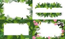 Rainforest Banner Set. Cartoon...